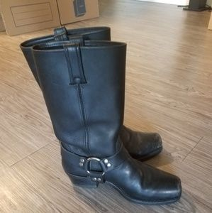 Frye Tall Harness Boots Black Motorcycle 10 Riding